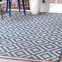 nuLOOM Indoor/Outdoor Moroccan Geometric Diamond Blue Rug - 7'6 x 10'9