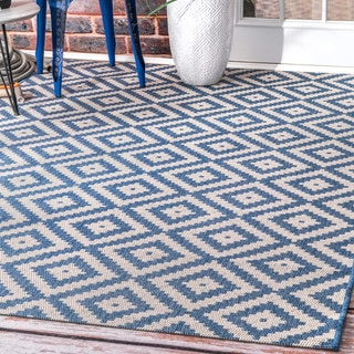 nuLOOM Indoor/Outdoor Moroccan Geometric Diamond Blue Rug (8'6 x 13')