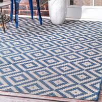 nuLOOM Indoor/Outdoor Moroccan Geometric Diamond Blue Rug - 8'6 x 13'