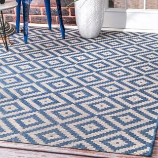 nuLOOM Indoor/Outdoor Moroccan Geometric Diamond Blue Rug (8'6 x 13')