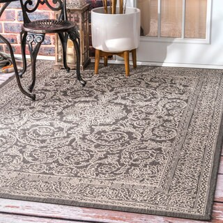 nuLOOM Made by Thomas Paul Indoor/Outdoor Traditional Floral Medallion Grey Rug (7'6 x 10'9)