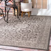 "nuLOOM Made by Thomas Paul Indoor/Outdoor Traditional Floral Medallion Grey Rug (8'6 x 13') - 8'6"" x 13'"