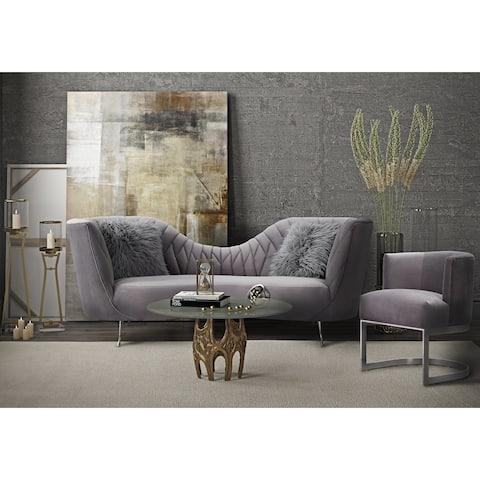 Eva Grey Velvet Sofa Set