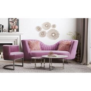 Eva Blush Velvet Sofa Set