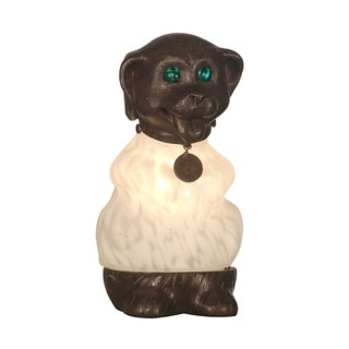 "Springdale 8.5""H White Dog Hand Blown Art Glass Accent Lamp"