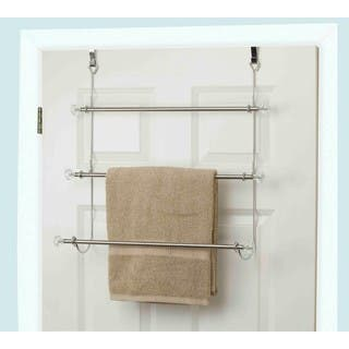 Home Basics 3 Tier Chrome Plated Steel Over The Door Towel Rack