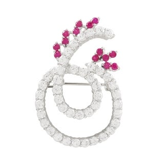 Luxiro Sterling Silver Lab-created Ruby and Cubic Zirconia Brooch
