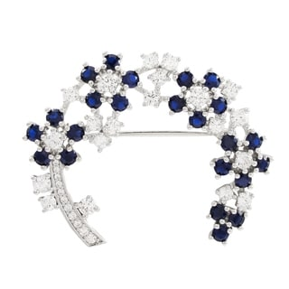 Luxiro Sterling Silver Lab-created Blue Spinel and Cubic Zirconia Brooch