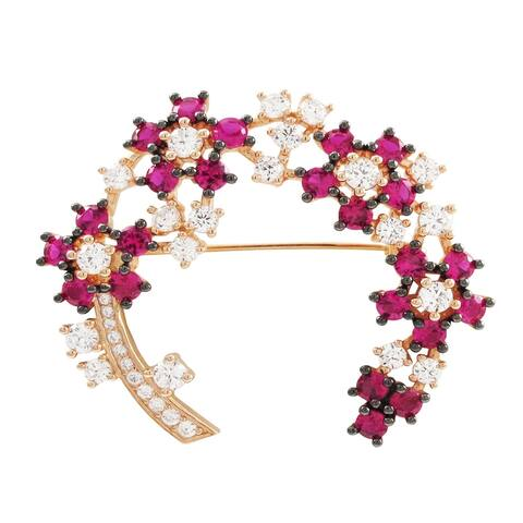 Luxiro Rose Gold Finish Sterling Silver Lab-created Ruby and Cubic Zirconia Brooch