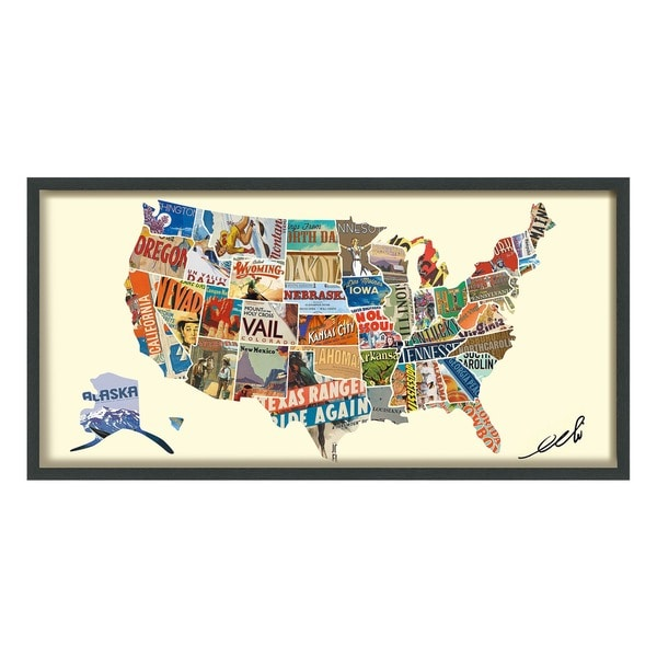Empire Art Handmade 'Across America' Signed and Framed Collage. Opens flyout.