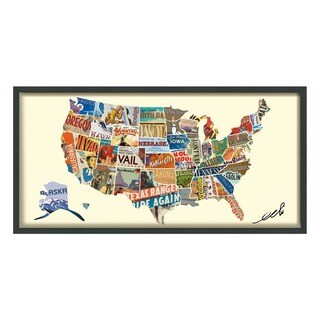 Empire Art 'Across America' Hand Made Signed Art Collage by EAD Artists Co-op under Tempered Glass in Black Frame