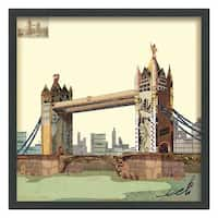 Empire Art 'London Bridge' Hand Made Signed Art Collage by EAD Artists Co-op under Tempered Glass in Black Frame