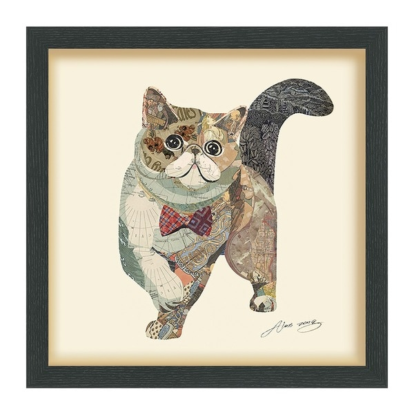Empire Art 'Garfield' Hand Made Signed Art Collage by EAD Artists Co-op under Tempered Glass in Black Frame