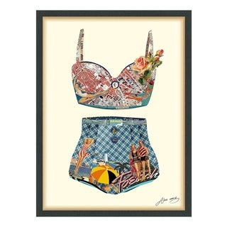 Empire Art 'Hawaii Beach' Hand Made Signed Art Collage by EAD Artists Co-op under Tempered Glass in Black Frame