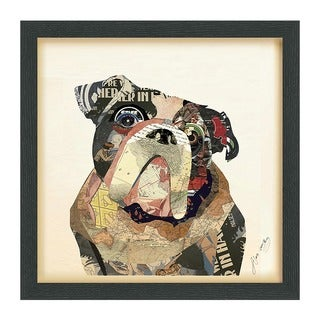 Empire Art 'English Bulldog' Hand Made Signed Art Collage by EAD Artists Co-op under Tempered Glass in Black Frame