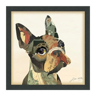 Empire Art 'French Bulldog' Hand Made Signed Art Collage by EAD Artists Co-op under Tempered Glass in Black Frame