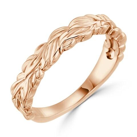 Auriya 10K Gold Ultra-Thin Stackable Leaf Wedding Band