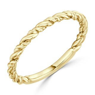 Auriya 10K Gold Stackable Twisted Rope Wedding Band (More options available)