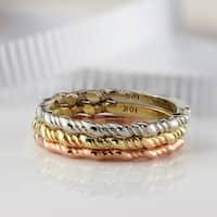 Auriya 10K Gold Ultra-Thin Twisted Rope Stackable Wedding Band