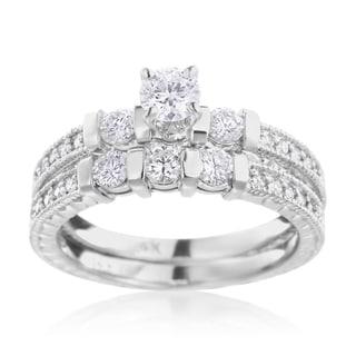 SummerRose 14k White Gold 1.00ct TDW Diamond Engagement Ring and Wedding Band Set