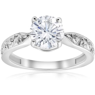 14K White Gold 1 1/2ct Solitaire Vintage Scroll Clarity Enhanced Diamond Engagement Ring (H-I, I1-I2)