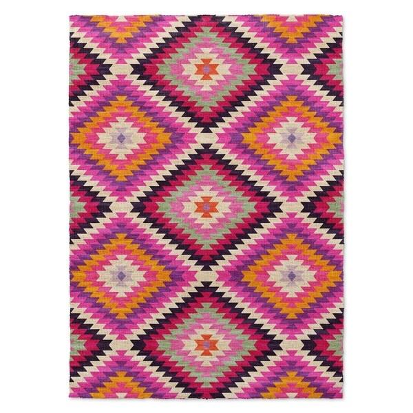 Kavka Designs Dakha Purple/ Pink/ Tan Area Rug ( 5'X7' ) - 5' x 7'