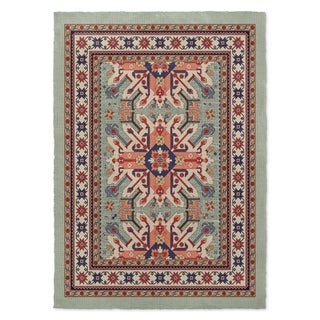 Kavka Designs Star Kazak Light Green/ Red/ Blue/ Ivory Area Rug ( 5'X7' ) - 5' x 7'