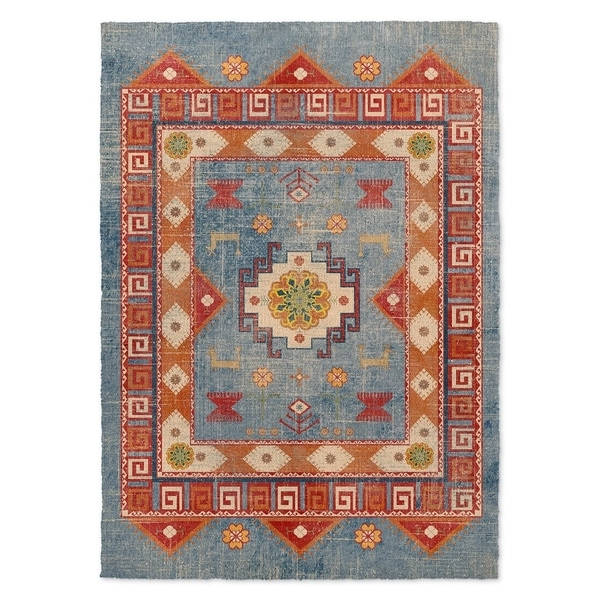 Kavka Designs Oma Denim Blue Red Orange Green Area Rug 5