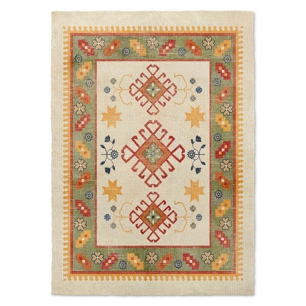 Shop Kavka Designs Baize Ivory Green Grey Red Area Rug 5 X7