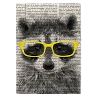 Kavka Designs Racoon In Yellow Glasses Yellow/ Black/ White Area Rug - 5' x 7'