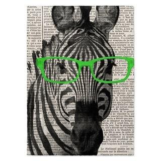 Kavka Designs Zebra In The Glasses Green/ Black/ White Area Rug ( 5'X7' ) - 5' x 7'