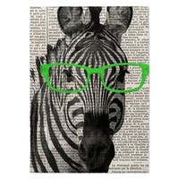 Kavka Designs Zebra In The Glasses Green/ Black/ White Area Rug - 5' x 7'