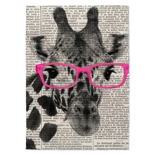 Kavka Designs Giraffe In Glasses Pink/ Black/ White Area Rug ( 5'X7' ) - 5' x 7'