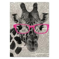 Kavka Designs Giraffe In Glasses Pink/ Black/ White Area Rug - 5' x 7'