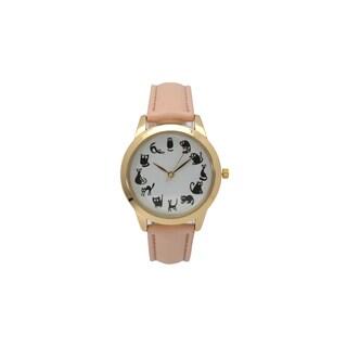 Olivia Pratt Women's Cat O'Clock Leather Watch