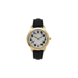 Olivia Pratt Women's Cat O'Clock Leather Watch|https://ak1.ostkcdn.com/images/products/16916274/P23207818.jpg?impolicy=medium