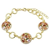 Luxiro Gold Finish Sterling Silver Multi-color Cubic Zirconia Circles Bracelet
