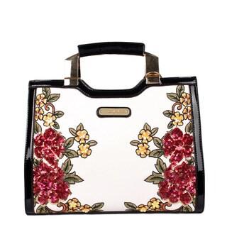 Nicole Lee White Faux Leather/Nylon/Sequin Floral Mini Briefcase Shoulder Bag