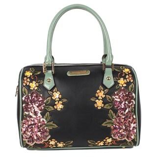 Boston Sequin Floral Black Shoulder Bag