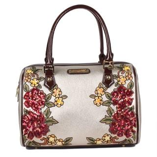 Nicole Lee Gold Sequin Floral Boston Shoulder Bag