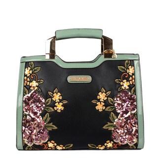 Black Sequin Floral Mini Briefcase Shoulder Bag