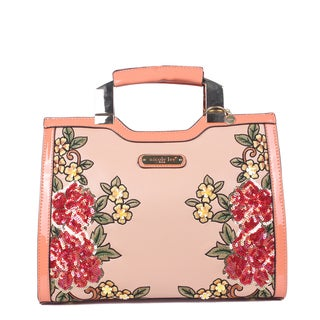 Nicole Lee Sequin Floral Pink Faux Leather and Nylon Mini Briefcase Shoulder Bag
