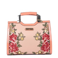 Nicole Lee Sequin Floral Pink Faux Leather and Nylon Mini Briefcase Shoulder  Bag. Sale 24377781004d3
