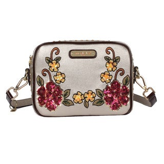 Nicole Lee Sequin Floral Gold Faux Leather and Nylon Crossbody Bag