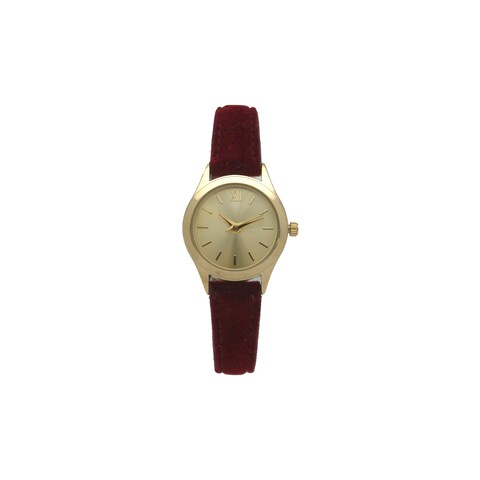 Olivia Pratt Women's Elegant Velvet Gold-tone Dial Watch
