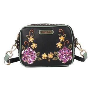 Nicole Lee Sequin Floral Black Crossbody Bag