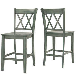 Eleanor Double X-Back Wood 24-inch Counter Chair (Set of 2) by iNSPIRE Q Classic