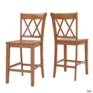 Eleanor Double X-Back Wood 24-inch Counter Chair by iNSPIRE Q Classic (Set of 2) (Option: Oak)