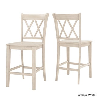 Eleanor Double X-Back Wood 24-inch Counter Chair (Set of 2) by iNSPIRE Q Classic (Option: Antique White)