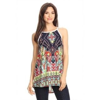 Women's Multicolored Abstract Sleeveless Top